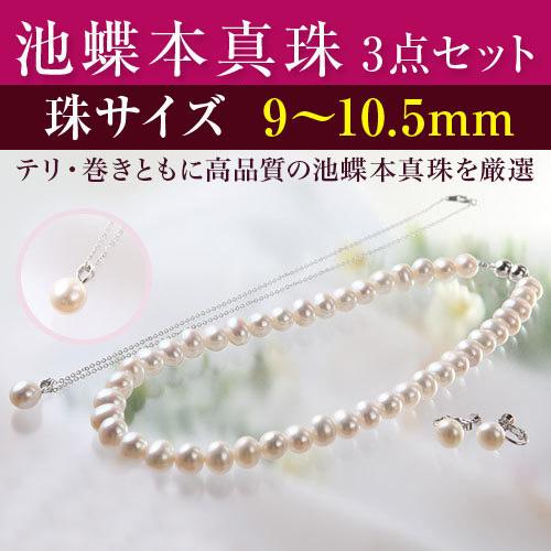 彩美珠 9~10.5mm 池蝶本真珠3点セット